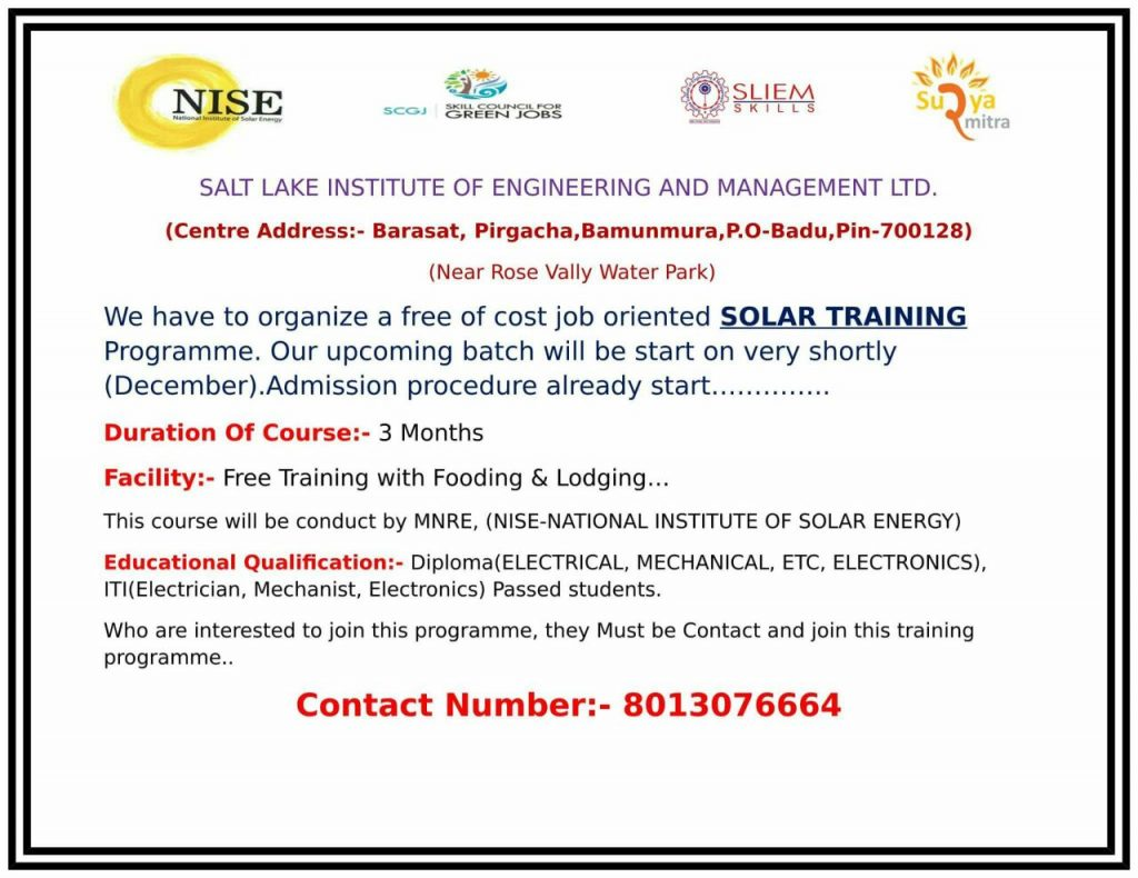 FREE SOLAR TRAINING PROGRAMME FOR PASSOUT'S – NHIT-Best Diploma College