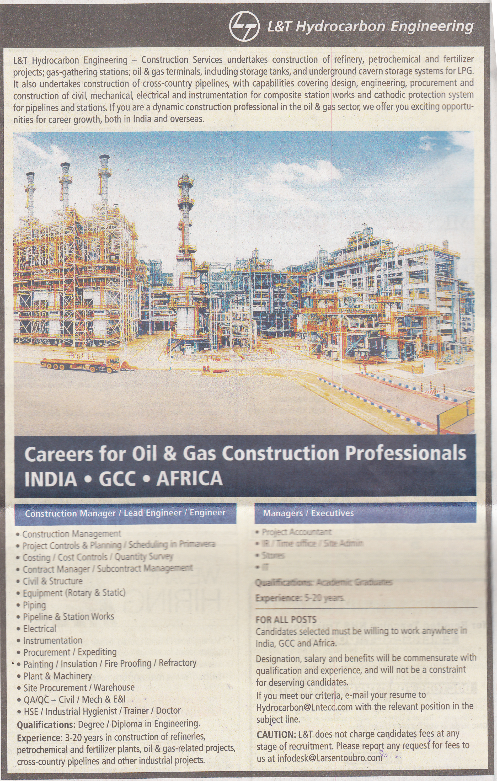 Openings At L Amp T Hydrocarbon Engineering Nhit Best